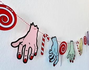 Horror Christmas Garland, pastel goth, severed hand, Alternative Christmas, Gift for Geek, Geeky Gifts, Geek Christmas, creepy christmas