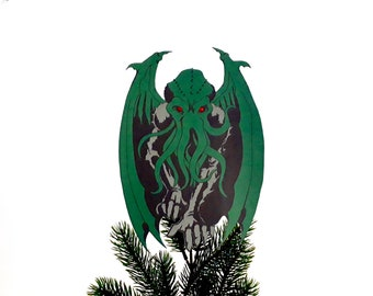 Cthulhu Christmas Tree Topper, Lovecraft, Great Old Ones, Mythos, Gift for geeks, Geeky Christmas, alternative decor, wine bottle cover