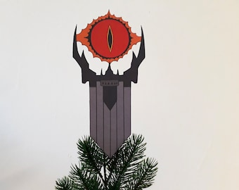 Eye of Sauron Christmas Tree Topper, Lord of the Rings, Tolkien, fantasy, alternative Christmas decor, wine bottle cover, tree decoration