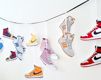 Party Garland Old School Hip Hop, Sneakers on a wire, Vintage Nike shoes, Adidas, Converse, Block Party, Teen room decor, sneaker art
