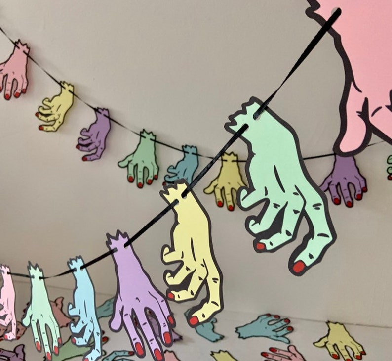 Severed hand garland Spooky Party Pastel Goth Horror Geek image 0