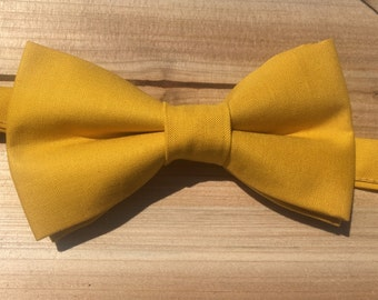 Mustard yellow bow tie, kids yellow bow tie, ring bearer bow tie