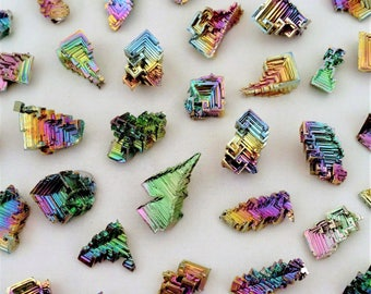 5 Pieces Jewelry-Grade Bismuth Crystal Lot Wire-Wrapped Pendant Earrings Crafts Display Specimens
