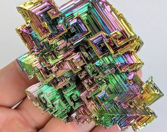 Rainbow Bismuth (XXL) Crystal Display Cluster Pyramid Metal Decor Rocks Minerals Specimen