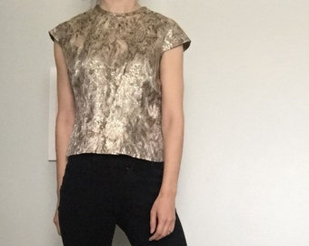 Cropped Vintage Black Gold Sleeveless Top Paisley Women's Blouse