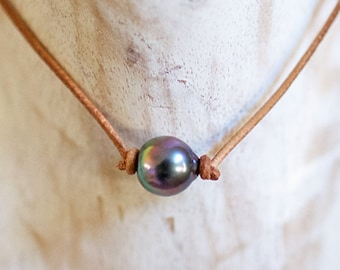 Tahitian Pearl, 11mm, Leather, Choker Necklace,Tahitian, Choker, Wire, Floating, Hawaiian, Clam, Mermaid, Necklace, Silver, Etsy