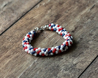 4th of July Red, White, and Blue Beaded Bracelet