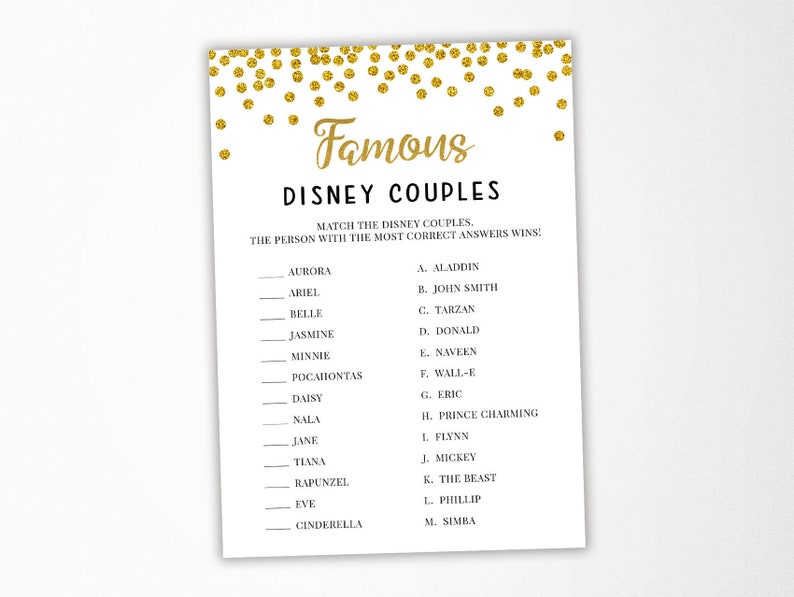 Famous Disney Couples Game Bridal Shower Games Activities Wedding Shower Gold Confetti Glitter Digital File Instant Download Br008