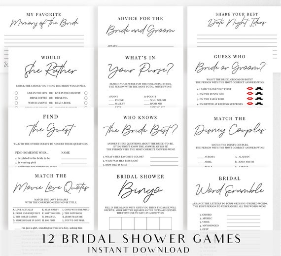 picture regarding Printable Wedding Shower Games referred to as Bridal Shower Game titles Package deal, Printable Marriage Shower Online games Pack  Things to do - Black and White Minimalist Design and style - Electronic Report - BR001