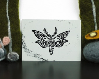 Moth Linoprint Postcard