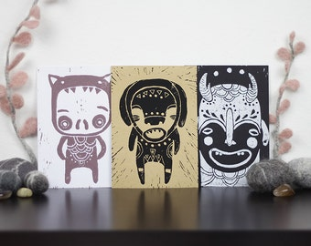 Lino Monsters Postcard Set