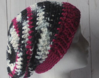Berry black white super slouchy crochet hat