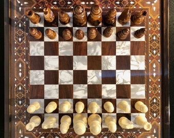 """Multi-Color Antique Mosaic Chess and Checkers Set   Pearlescent Chess   11.5"""" x 11.5""""   INT EXPRESS SHIPPING (1-5 days to worldwide)"""