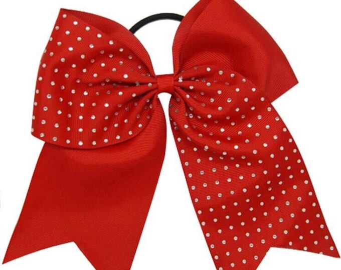 "Red Rhinestone  7.5"" Grosgrain Cheering Bows"