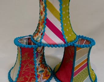 Set of three little patchwork lampshades, multicoloured lamp shades, chandelier lampshades