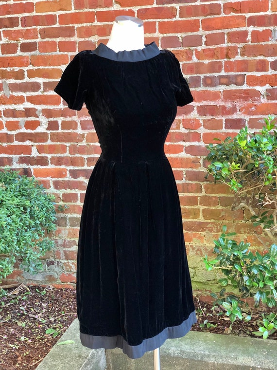 Original 1950s Suzy Perette Black Velvet Dress