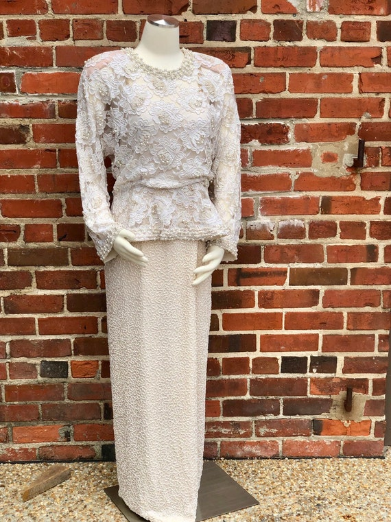 1980s Custom Beaded Ivory Formal Gown