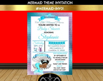 Mermaid Theme Baby Shower Invitation |Teal and Purple | Teal and Silver