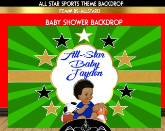All-Star Sports Baby Shower Backdrop | Emerald Green and Gold | Emerald Green and Blue Baby Shower Backdrop | Sports Theme Backdrop