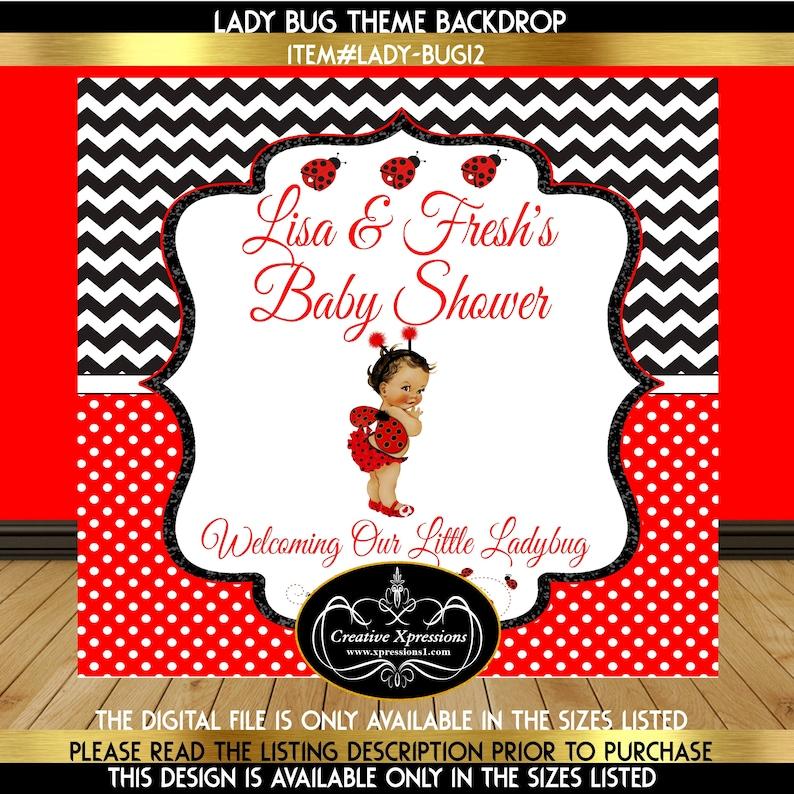 Baby Shower Backdrop Ladybug Theme Baby Shower Backdrop 1st Birthday Backdrop Ladybug Is on the Way