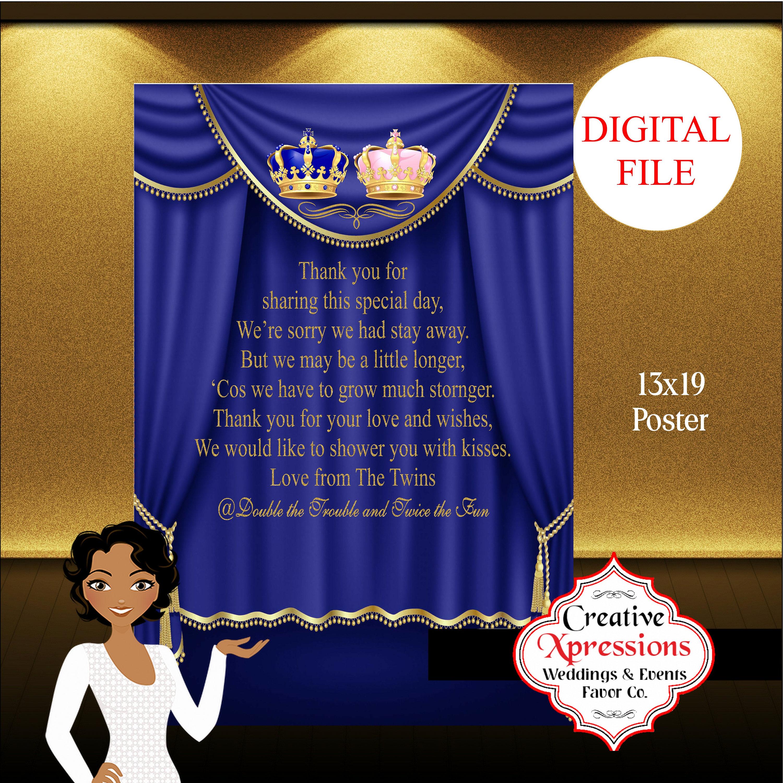 Royal Prince Poster Royal Baby Shower Poster Sign Easel