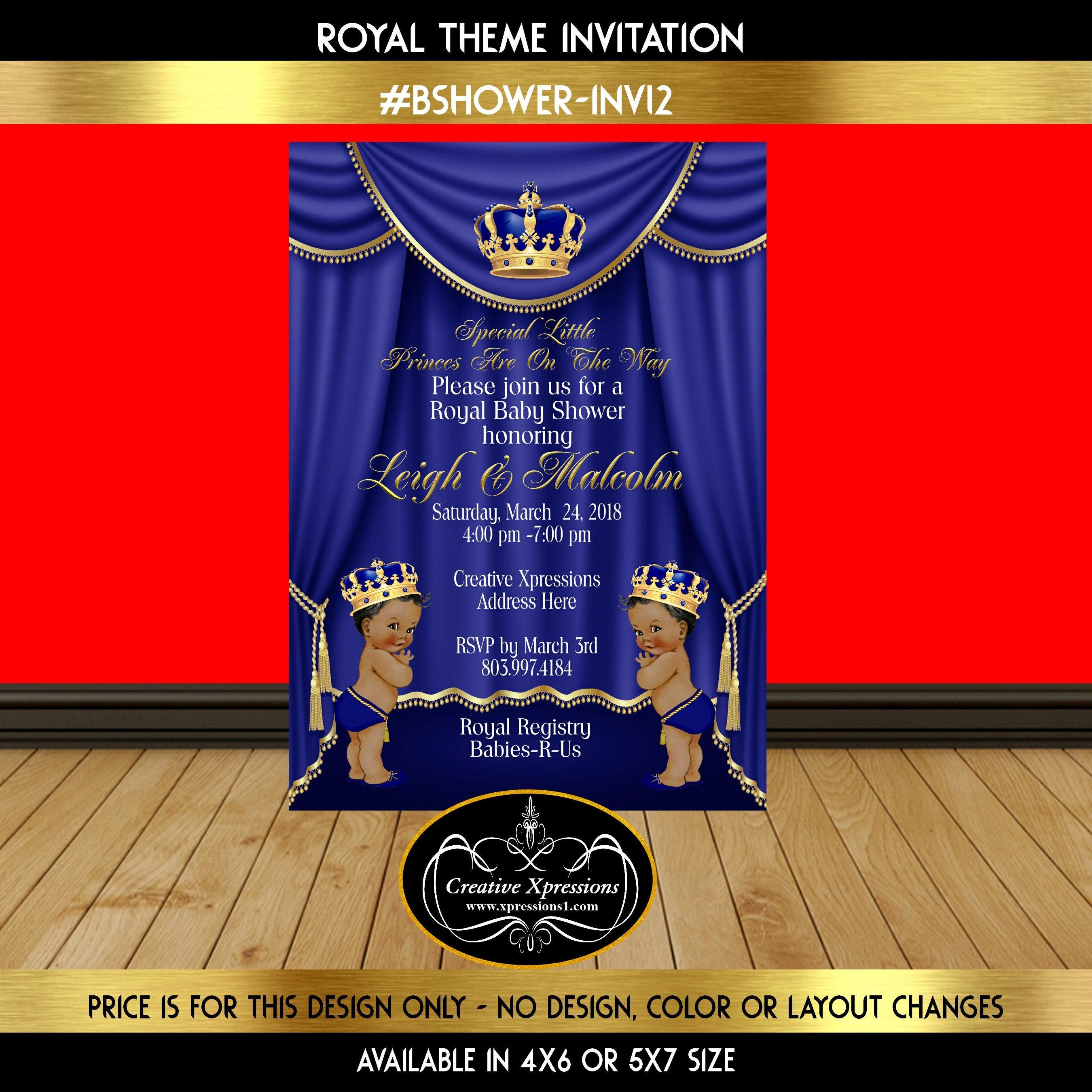 Twin Royal Princes Theme Invitation Blue and Gold Birthday | Etsy