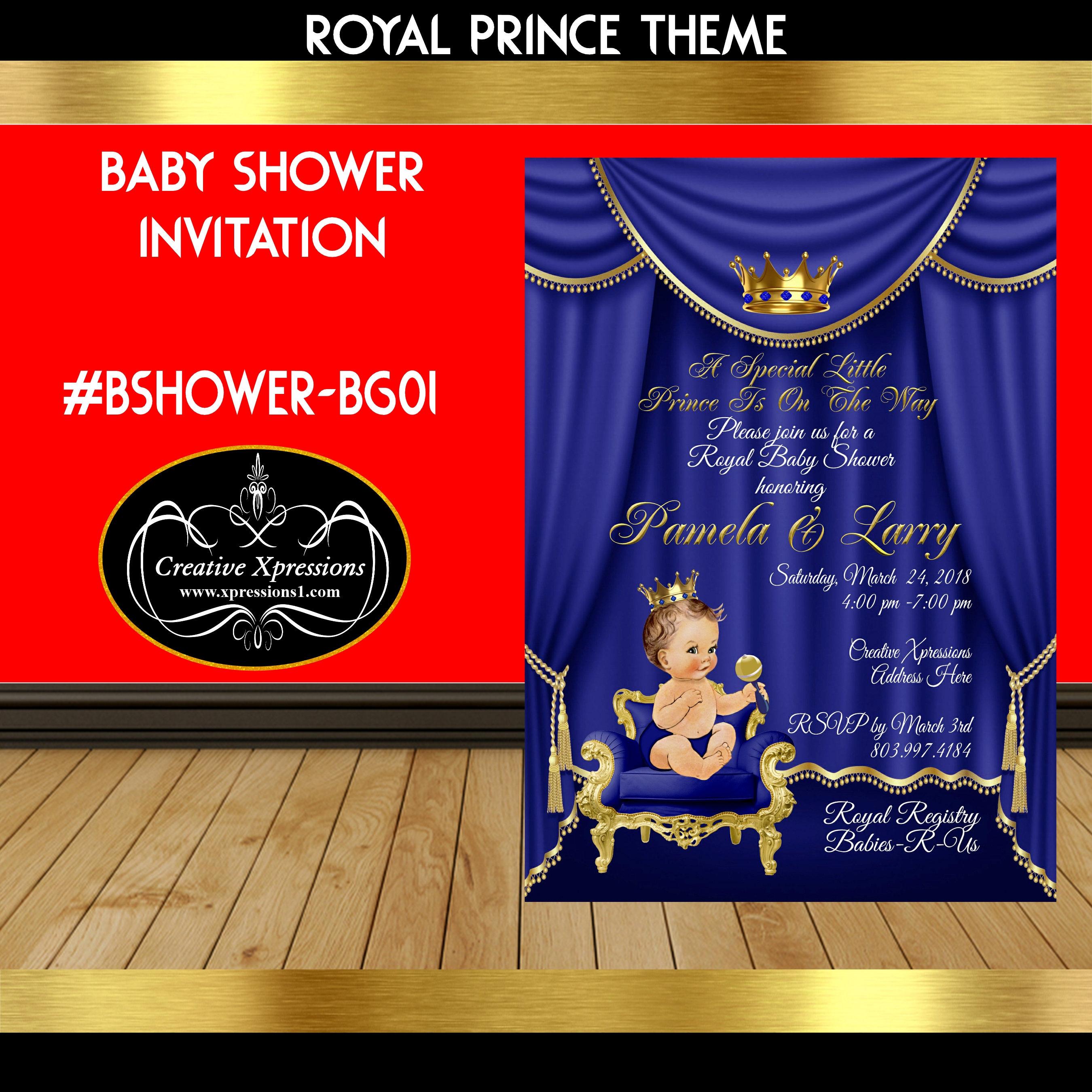 Royal Prince in Royal Blue and Gold Invitation Royal Blue