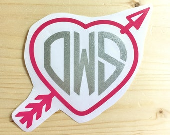 Heart Monogram Decal - Valentines Day Gift- Arrow Heart Initial Decal - Heart and Arrow Decal - Wedding Heart Decal  - Engagement Gift