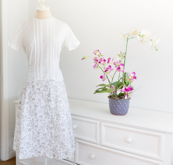 1970's Vintage Laura Ashley White Floral Handmade