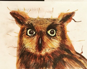 Watercolor and pencil Owl