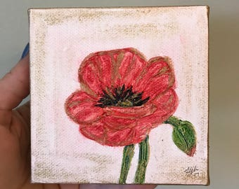 Poppy Painting | 4x4 Canvas