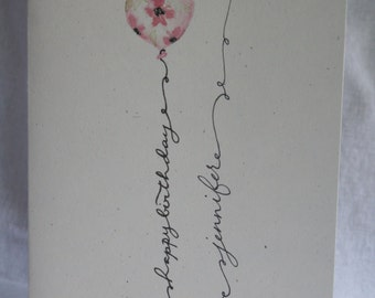 Personalized Happy Birthday Card | Watercolor Balloon in Pink or Blue