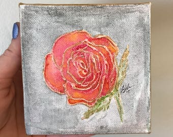 Rose Painting | 4x4 Canvas