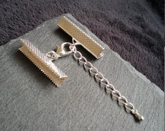 """5 or BULK 30 sets Silver TONE Crimp Ends for 30mm (1 3/16"""") Wide Ribbon with 14mm Lobster Clasps & Extension Chain"""
