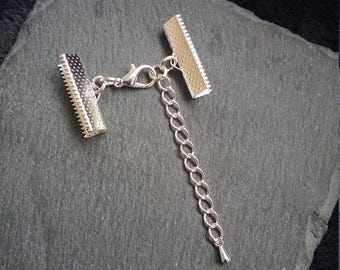 """6 or BULK 30 sets Silver Plated Crimp Ends for 22mm (7/8"""") Wide Ribbon with 12mm Lobster Clasps"""