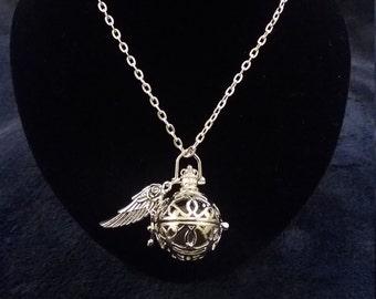 Pretty Angel Caller Pendant Necklace Antique Silver Tone Harmony Ball