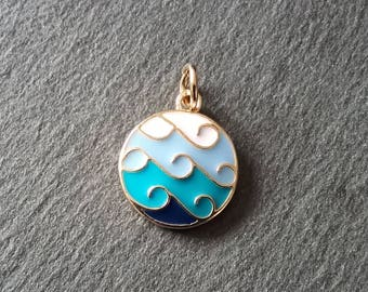 2 Gold Plated Blue Ocean Wave Sea Round Pendant Charms