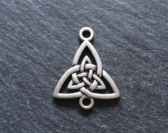 4 or BULK 20 Celtic Knot Sterling Silver Plated Triangular Connector Charms 24.5x20mm Nickel FREE