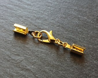 5 sets Gold Plated Crimp Ends for 35mm Wide Ribbon with 14mm Clasps UK 1 3//8/""