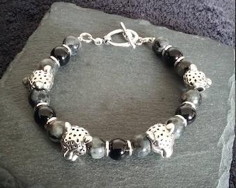 Silver Leopard Black & Grey Gemstone Bracelet