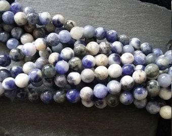 6mm Natural Sodalite Undyed Gemstone Beads Full 15 inch Strand