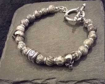 Silver Celtic Skull Gemstone Bracelet in Scenery Jasper