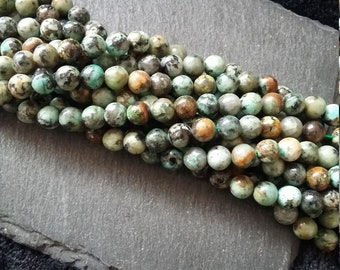 6mm African Turquoise Beads Round Natural & Undyed Full 15.7 inch Strand