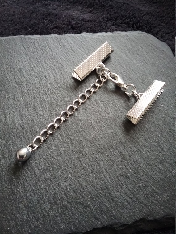 "13//16/"" Ribbon 4 sets Stainless Steel Crimp Ends for 20mm Clasps /& Chain UK"