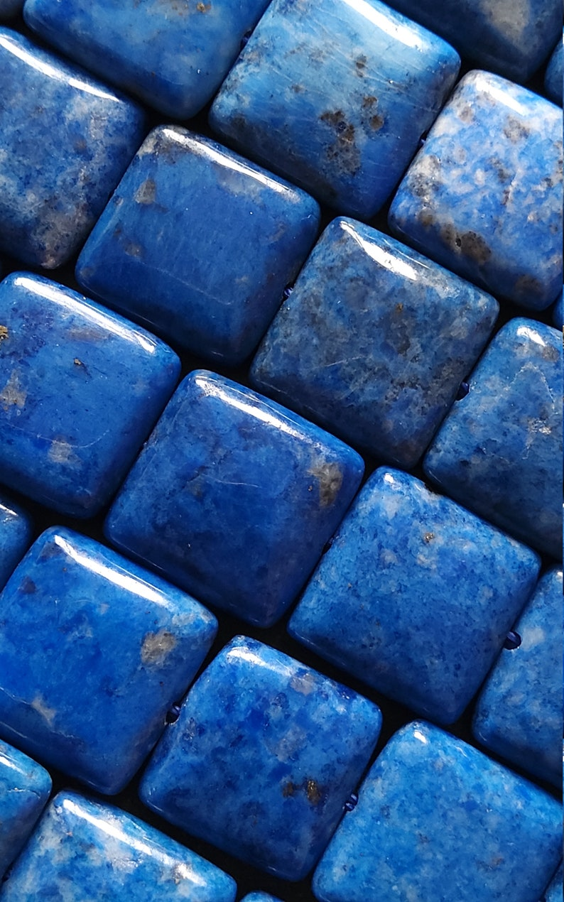 14mm Natural Lapis Lazuli Undyed Flat Rounded Square Beads Undyed Full 15.3 inch Strand 14x14x4mm