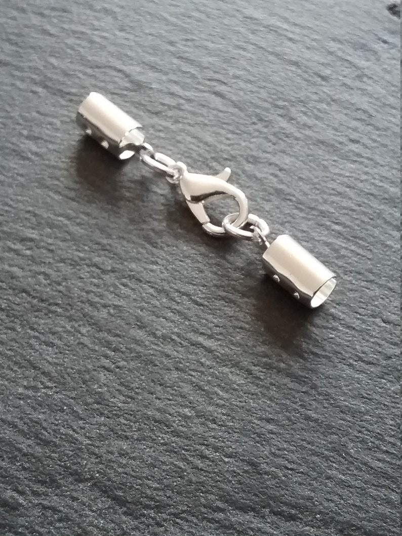 6 or BULK 30 Sets of Silver Plated Crimp Ends for 4mm to 4.5mm Cord with 12mm Lobster Clasps
