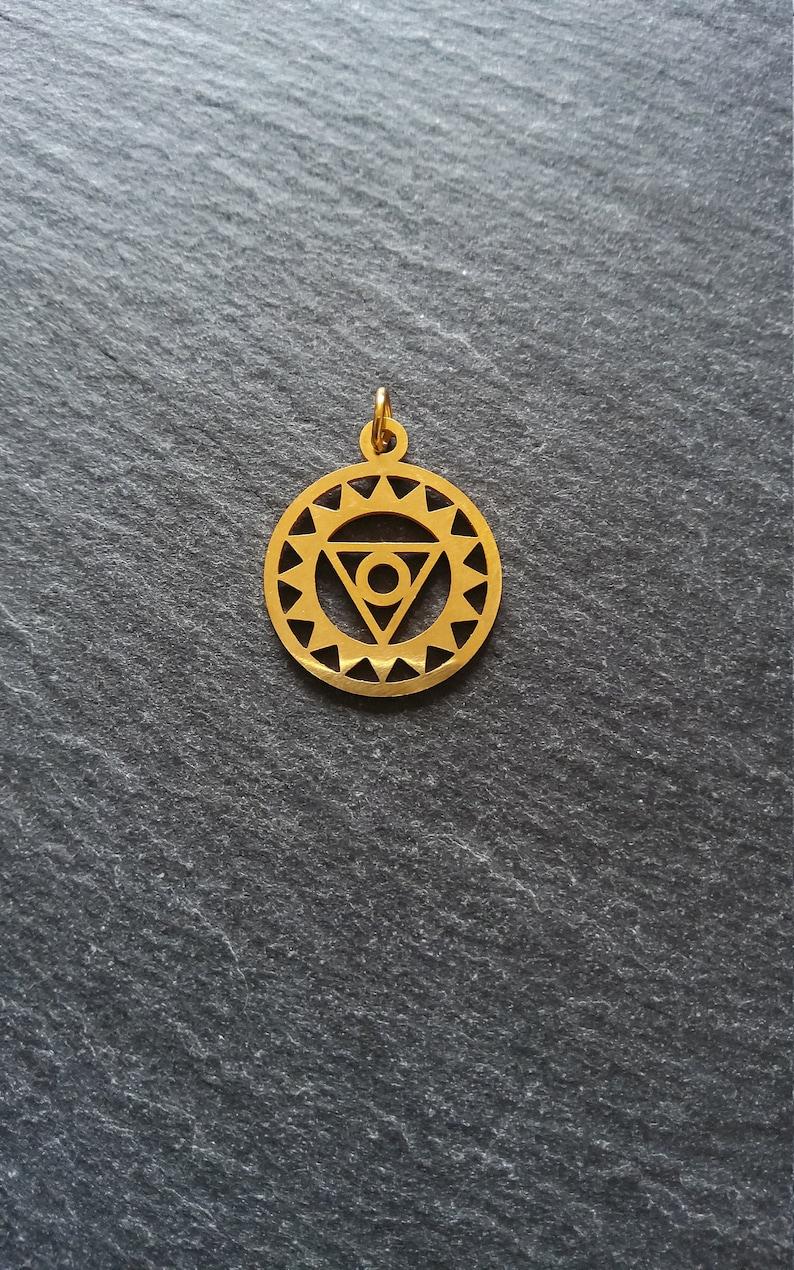2 or BULK 10 Golden Stainless Steel Vishuddha Throat Chakra Flower Charms Flat 22x19mm