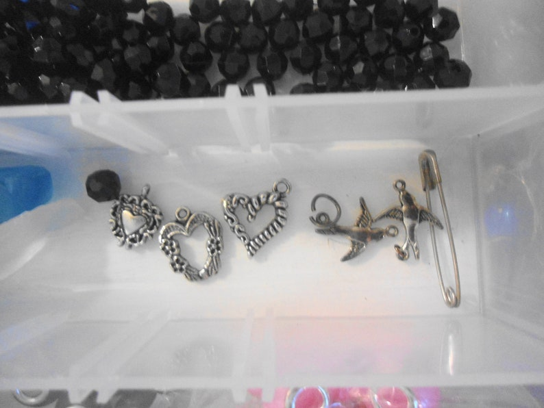 Bead Junk Drawer Lot in Plastic  Container including turtle CHOKER