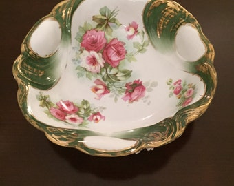 LARGE German C S Green Marked Bowl in Floral Rose Design with Gold Brush Applied