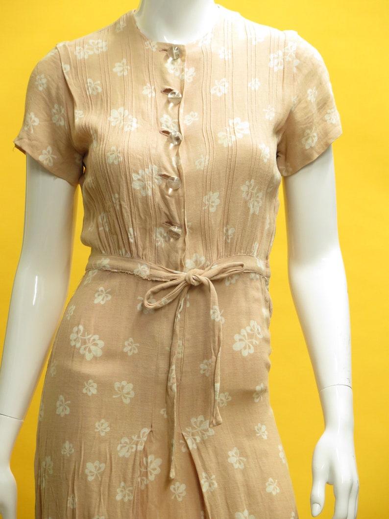 1930\u2019s Nelly Ann Blush Gauzy Cotton Floral Dress